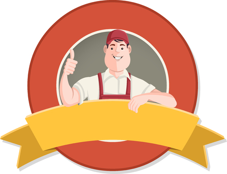 superintendent: Vector banners and labels backgrounds with cartoon worker character in different actions. Design text ribbons. Illustration