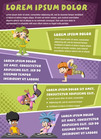 Vector brochure backgrounds with cartoon hip hop dancers with a singer and a DJ playing music. Infographic template design. Ilustração