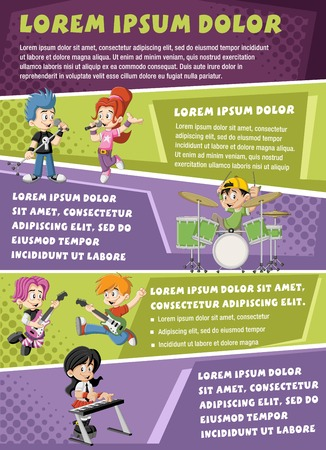 Vector brochure backgrounds with cartoon children playing on a rock'n'roll band. Infographic template design.