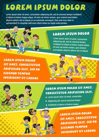 Vector brochure backgrounds with cartoon family. Infographic template design.