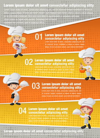 Vector brochure backgrounds with chefs cooking cartoon and tray with food holding. Infographic template design.