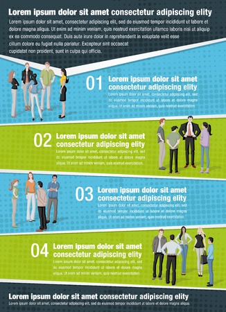 illustration people: Vector brochure backgrounds with business people. Infographic template design.