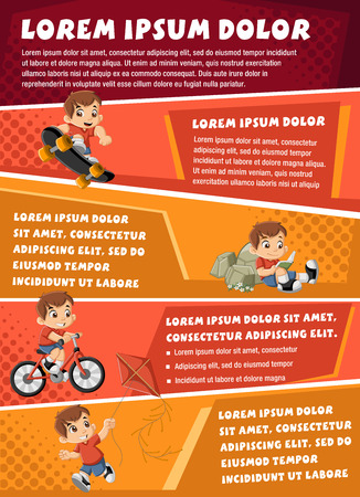 child sport: Vector brochure backgrounds with happy cartoon boy playing. Infographic template design.