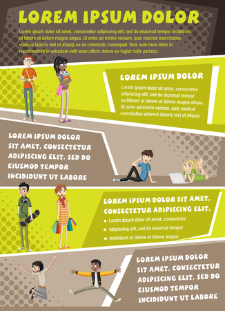 Vector brochure backgrounds with cartoon teenagers. Infographic template design. Illustration