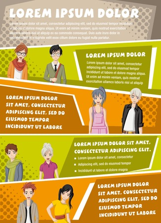 Vector brochure backgrounds with manga anime people. Infographic template design. Ilustração