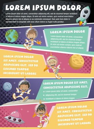 space cartoon: Vector brochure backgrounds with astronaut cartoon children in the space. Infographic template design.