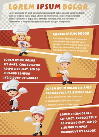 chefs cooking: Vector brochure backgrounds with chefs cooking cartoon and tray with food holding. Infographic template design.