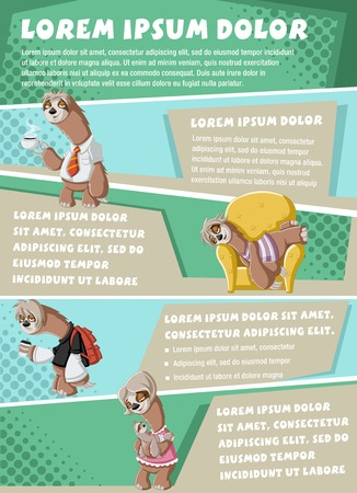Vector brochure backgrounds with cartoon lazy sloths. Infographic template design.