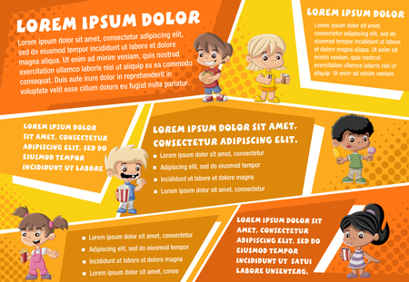 childrens food: Vector brochure backgrounds with cartoon children eating junk food. Infographic template design.