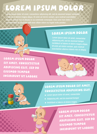 diaper pin: Vector brochure backgrounds with cartoon baby wearing diaper. Cute toddler. Infographic template design. Illustration