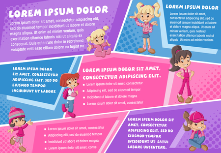 message board: Vector brochure backgrounds with cartoon girls. Infographic template design. Illustration