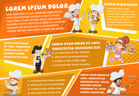 chefs cooking: Vector brochure backgrounds with cartoon cooking chefs, waitress and waiter holding tray with fast food. Infographic template design.