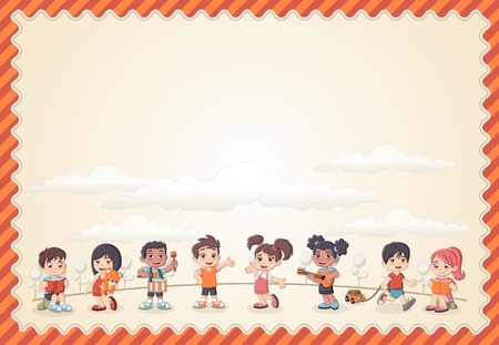 bambini che giocano: Card with a group of happy children playing cartoon