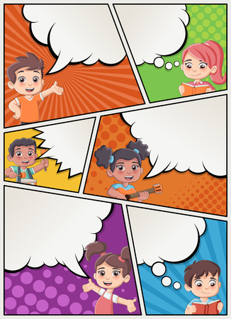 Comic book page with children talking. Comic strip background with speech bubbles. Illustration