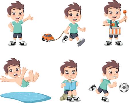 ricreazione: Cute cartoon felice ragazzo a giocare. Sport e giocattoli. Vettoriali