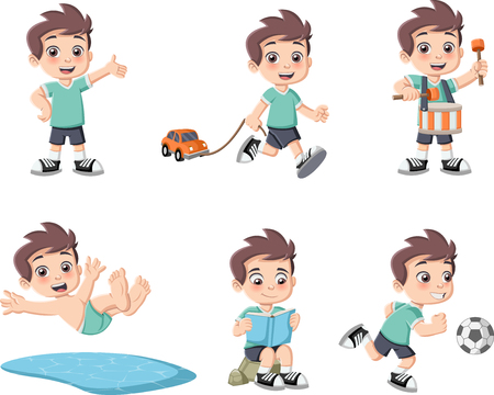 Cute happy cartoon boy playing. Sports and toys. Imagens - 64377592