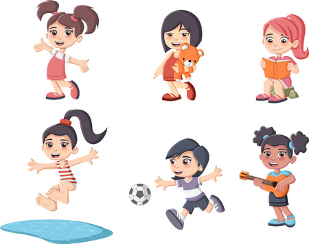 guitar illustration: Cute happy cartoon girls playing. Sports and toys. Illustration