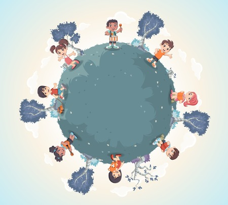 girl in nature: Planet earth with cute cartoon kids playing. Sports and recreation. Illustration