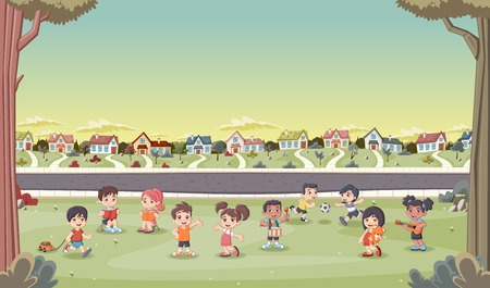 suburban neighborhood: Colorful houses in suburban neighborhood with cute cartoon kids playing. Sports and recreation. Illustration