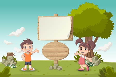guidepost: Wooden sign on colorful park with cartoon children