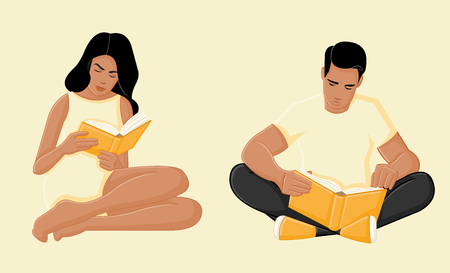 reads: Young couple reading books on yellow background