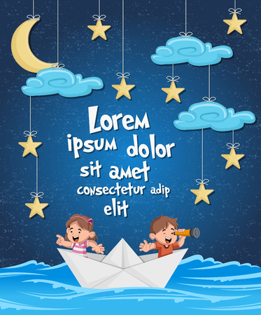 Kids inside a paper boat at night. Sky with moon, stars and clouds hanging on strings.
