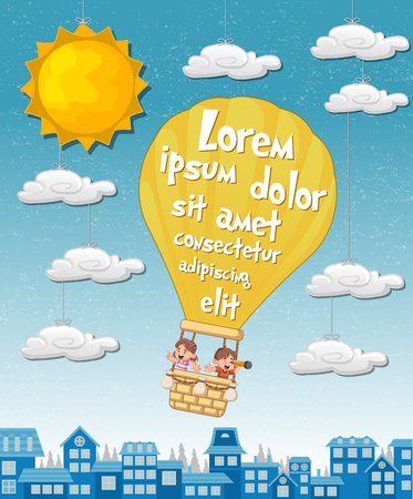 Cartoon kids inside a hot air balloon over the city. Sky with sun and clouds hanging on strings.