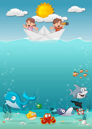 Kids inside a paper boat at the ocean with fish under water. Cartoon children at the sea. Иллюстрация