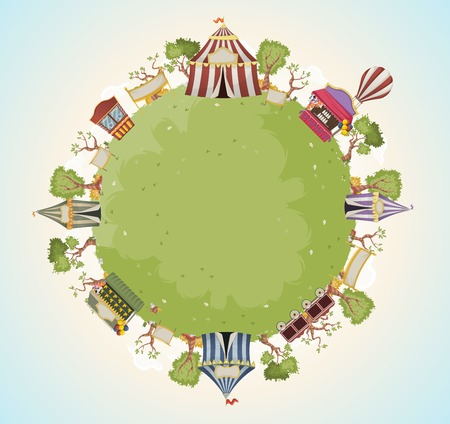 circus ticket: Planet earth with retro cartoon circus. Green world with vintage carnival background.