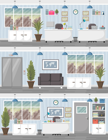 business office: Office workspace background with desk. Business workplace in the city. Illustration