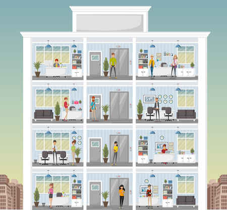 Building with cartoon business people working in office workspace. Business workplace in the city. Vetores
