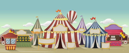 jubilation: Retro cartoon circus with tents. Vintage carnival background.
