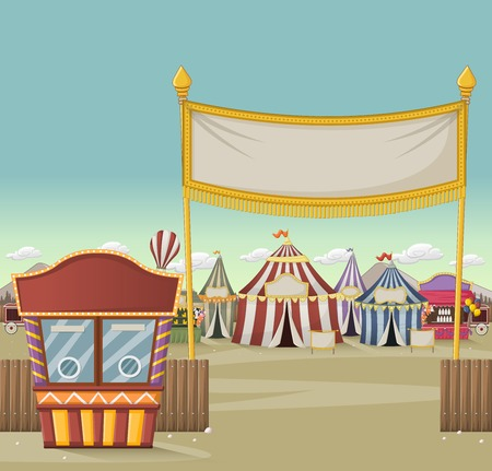 Ticket booth on the entrance of a retro cartoon circus with tents. Vintage carnival background.