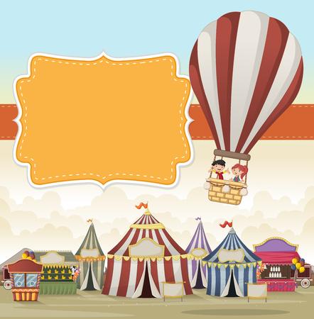 air show: Cartoon kids inside a hot air balloon flying over cartoon circus. Vintage carnival background.