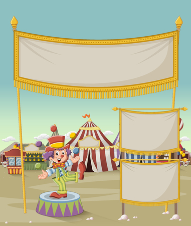 Cartoon clown juggling in front of cartoon circus. Vintage carnival background. Illustration