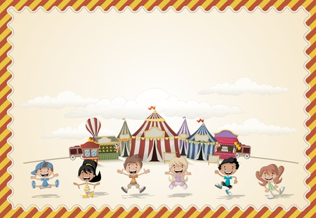 show: Card with a group of cartoon happy children playing in front of a retro circus. Vintage carnival background.