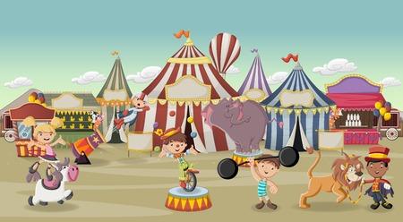 personajes de dibujos animados y animales en frente de circo retro con tiendas de campaña. Carnaval de fondo de la vendimia con los niños. Ilustración de vector
