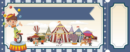 comedian: Ticket with cartoon characters in front of retro circus. Vintage carnival background with children.