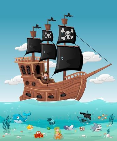 Cartoon Jungen Piraten auf einem Schiff mit Fischen und Meerjungfrau unter Wasser.