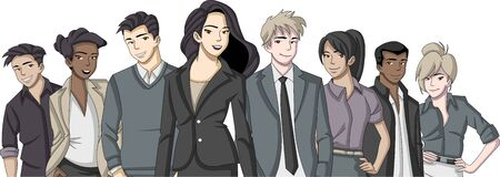 woman business suit: Group of cartoon business people Illustration