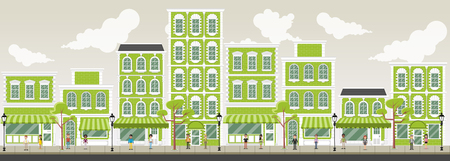 green street: Street of a green city with cartoon business people Illustration