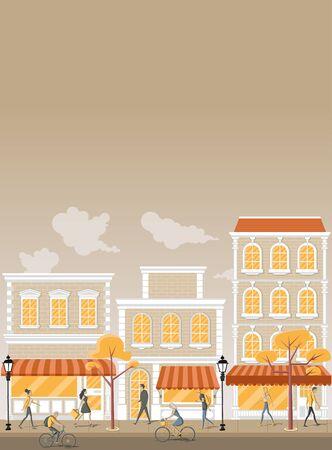 schoolkid: Group of cartoon people walking on the street of the orange city Illustration