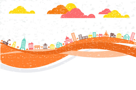 Big colorful city landscape with buildings Illustration