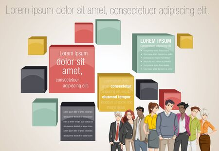 maniac: Vector banners  backgrounds with business people. Text box frames. 3D infographic design.
