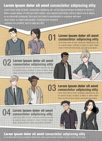 coworker: Vector brochure backgrounds with business people. Infographic template design.