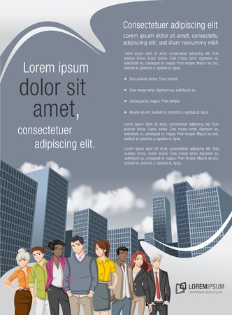 Green template for advertising brochure with business people in the city