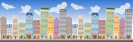 residential neighborhood: Big colorful city landscape with buildings Illustration