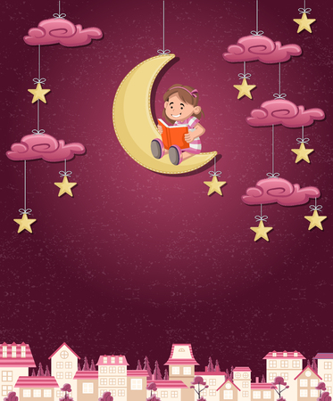 hanging girl: Cartoon girl reading a book on the moon. Sky with moon, stars and clouds hanging on strings over the city.