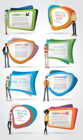 Vector banners / backgrounds with business people. Design text box frames. Ilustração Vetorial