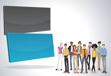 associate: Vector banners  backgrounds with business people. Design text box frames.